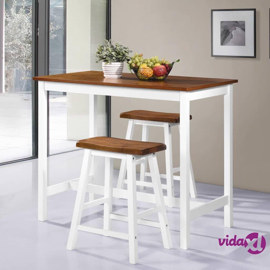 Image of vidaXL Baaripöytä ja istuinsarja 3 osaa kiinteä puu