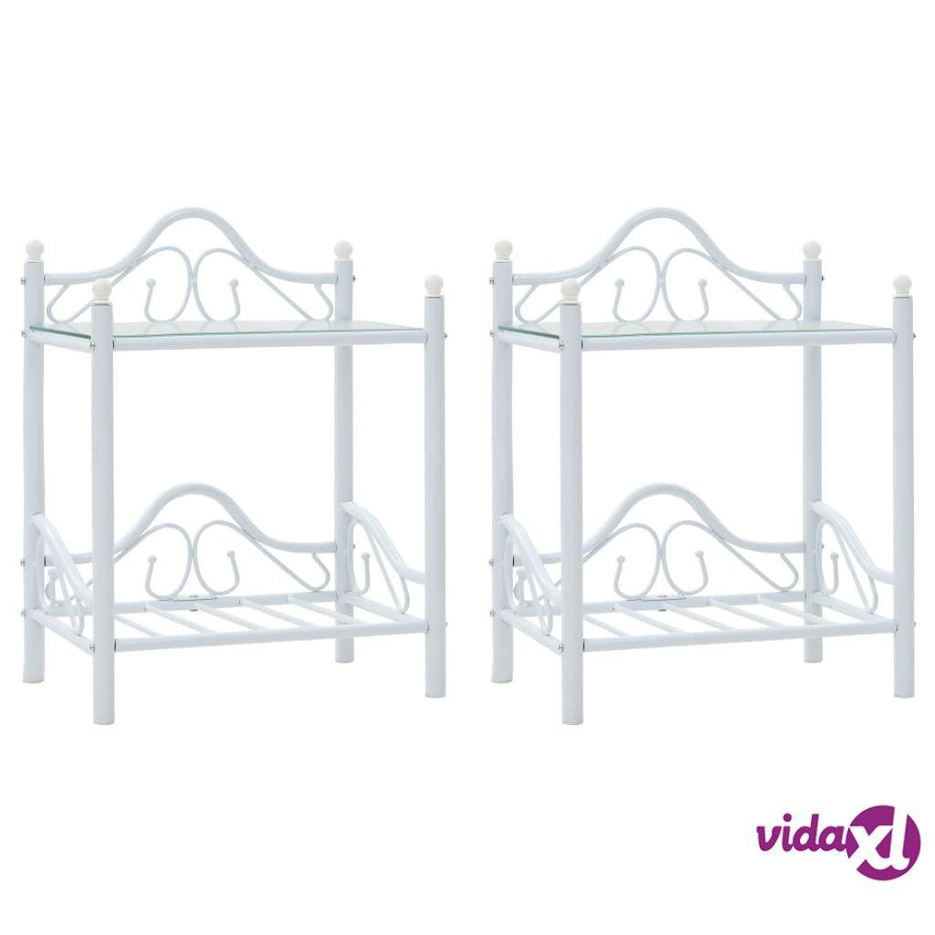 vidaXL Yöpöydät 2 kpl teräs ja karkaistu lasi 45x30,5x60 cm valkoinen