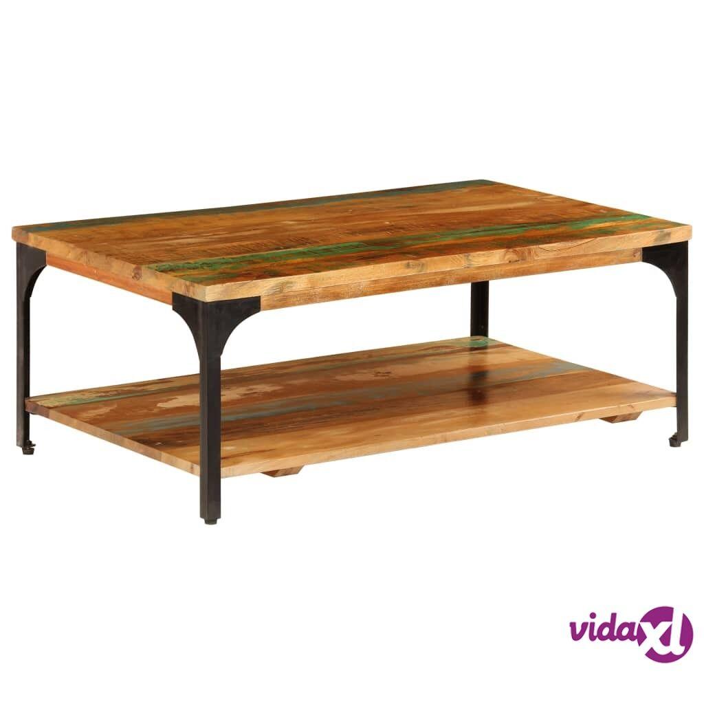 Image of vidaXL Sohvapöytä hyllyllä 100x60x35 cm kierrätetty puu