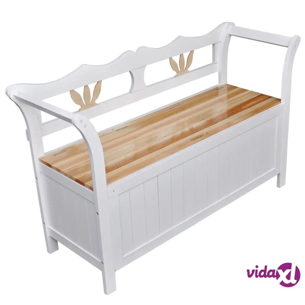 Image of vidaXL Valkoinen Varastopenkki 126x42x75 cm Puu Valkoinen