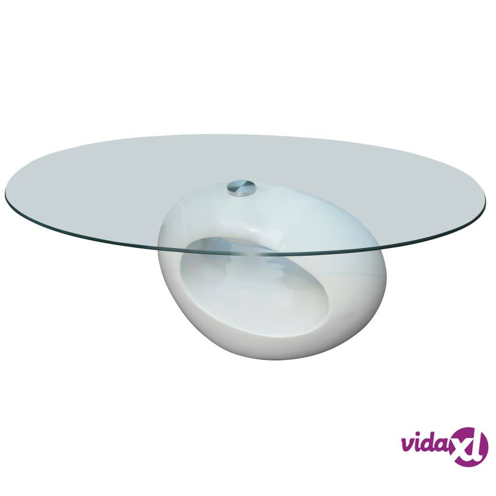 Image of vidaXL Sohvapöytä soikea lasinen pöytälevy korkeakiilto valkoinen