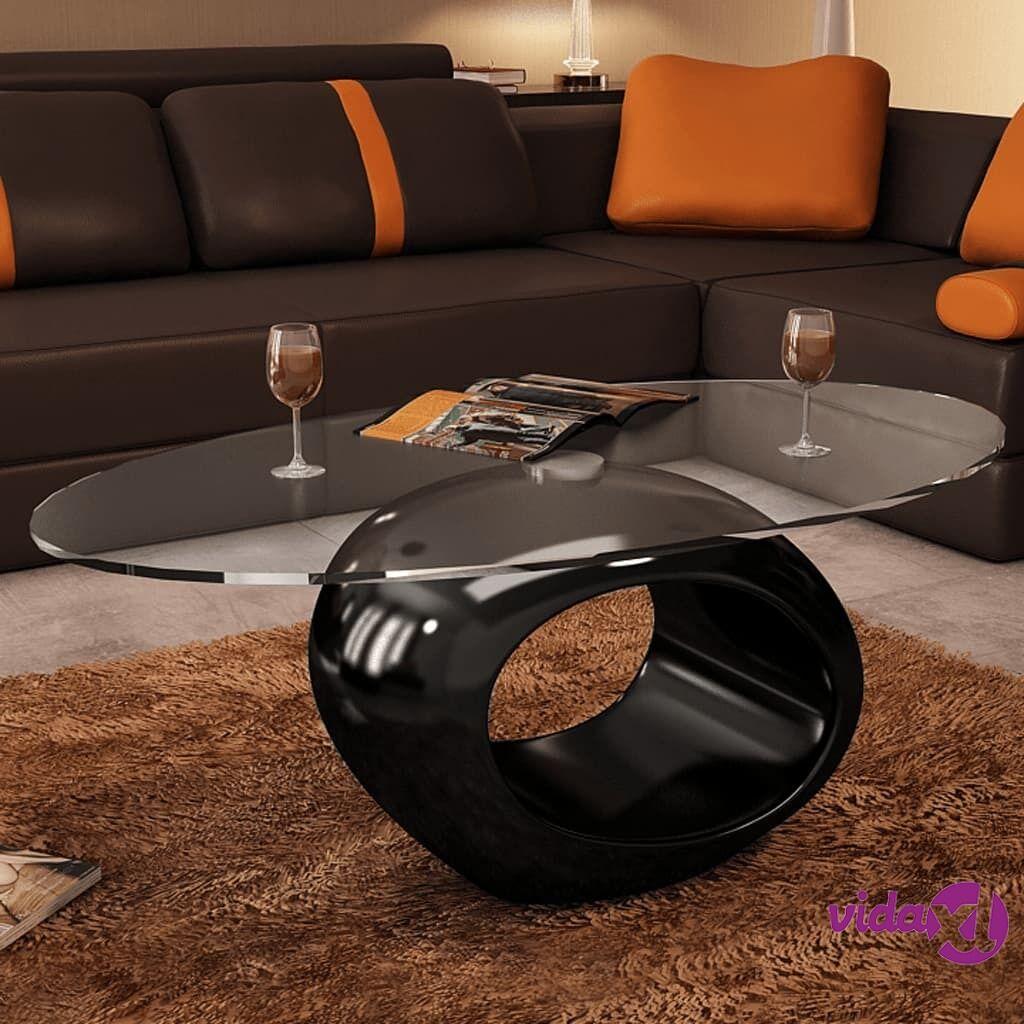 Image of vidaXL Sohvapöytä soikea lasinen pöytälevy Korkeakiilto musta