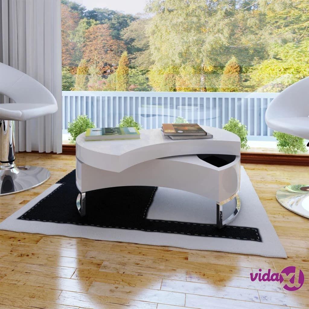 Image of vidaXL Sohvapöytä säädettävä muotoilu korkeakiilto valkoinen