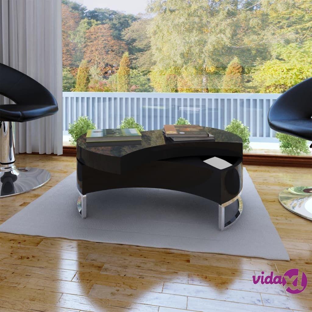 Image of vidaXL Sohvapöytä korkeussäädettävä Korkeakiilto musta