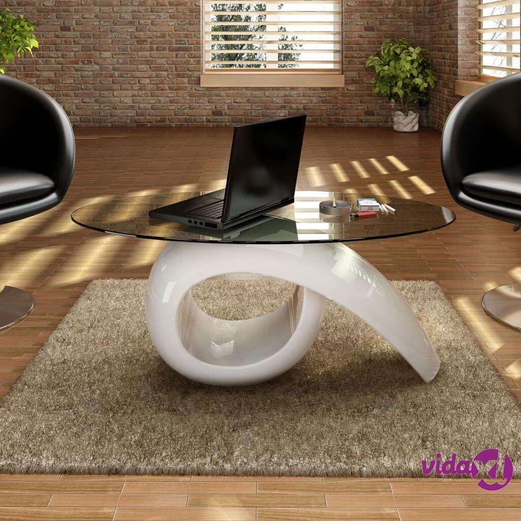 Image of vidaXL Sohvapöytä soikea lasi ja kierrejalusta Korkeakiilto valkoinen