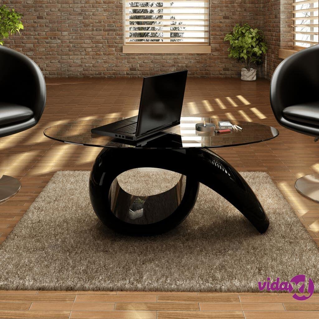 Image of vidaXL Sohvapöytä soikea lasi ja kierrejalusta Korkeakiilto musta