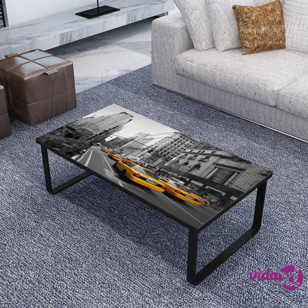 Image of vidaXL Sohvapöytä lasinen pöytälevy ja kaupunkimaisema Suorakaide