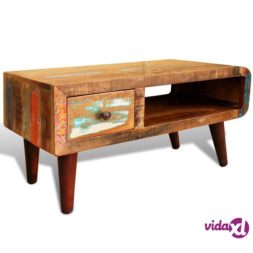 Image of vidaXL Sohvapöytä pyöristetyllä päädyllä 1 laatikko Kierrätetty puu