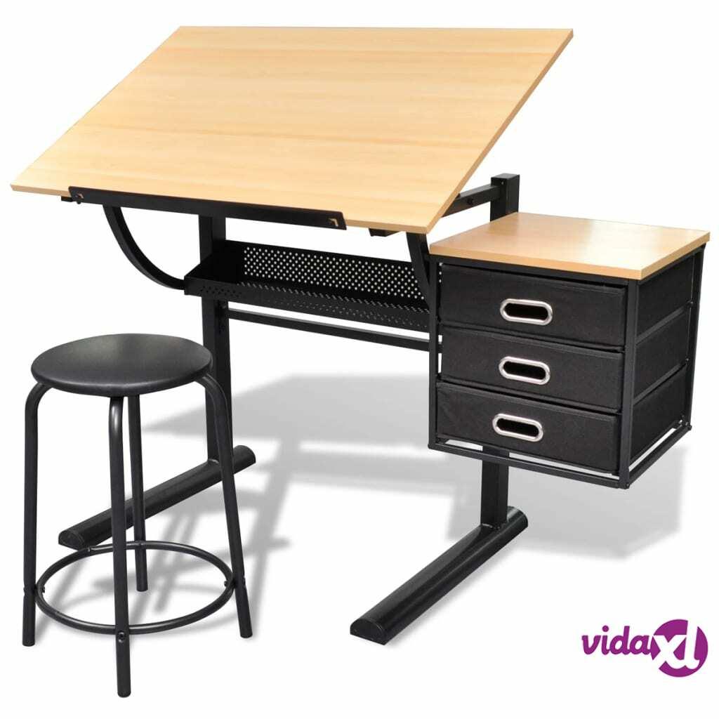 vidaXL Kallistettava Piirustuspöytä Jakkaralla