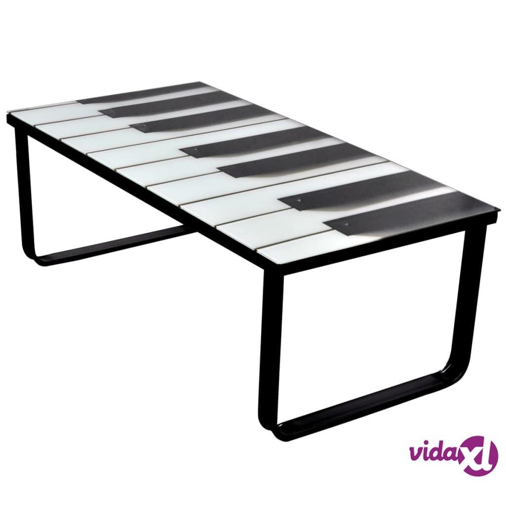 Image of vidaXL Sohvapöytä lasisella pöytälevyllä ja pianokuviolla