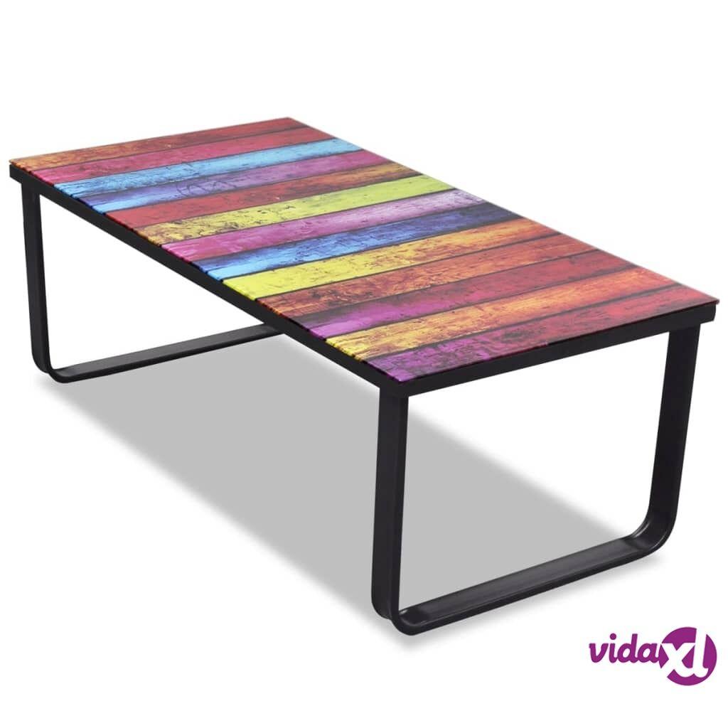 Image of vidaXL Sohvapöytä lasisella pöytälevyllä ja sateenkaaren väreillä