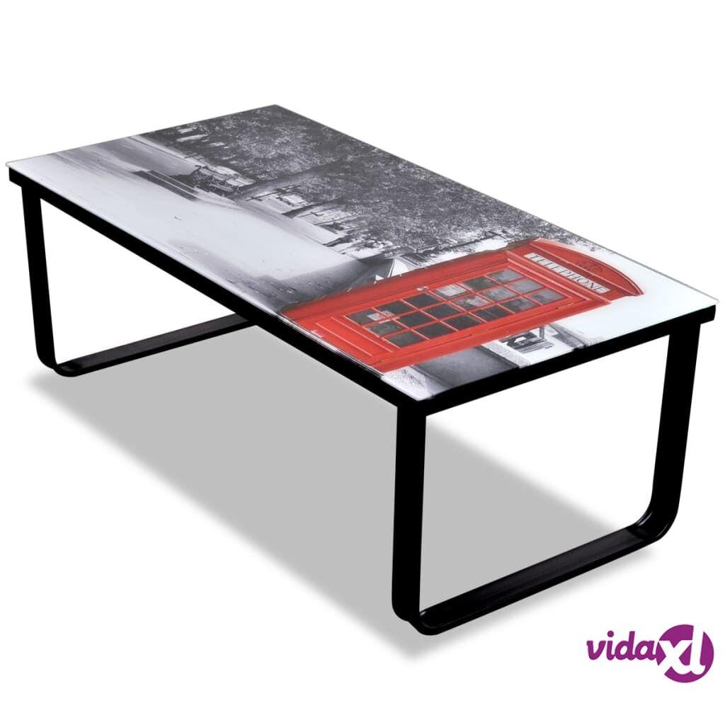 Image of vidaXL Sohvapöytä lasisella pöytälevyllä ja puhelinkioskikuvalla