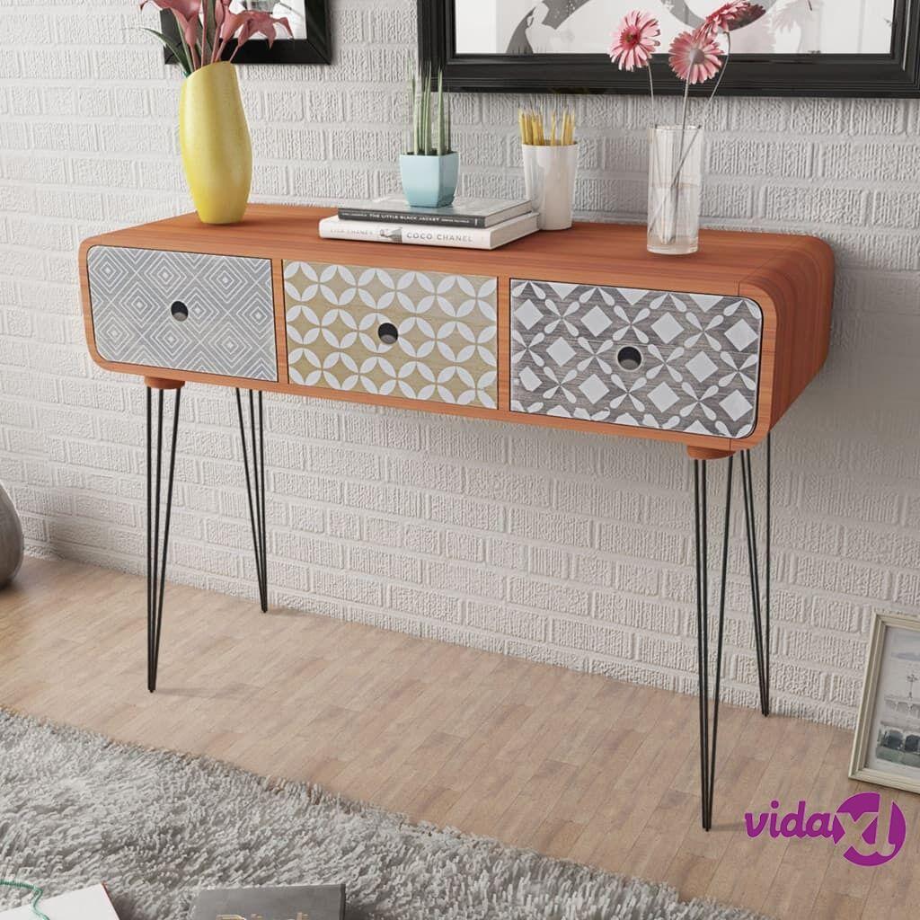 vidaXL Sivupöytä 3 vetolaatikolla ja koristekuvioilla Ruskea