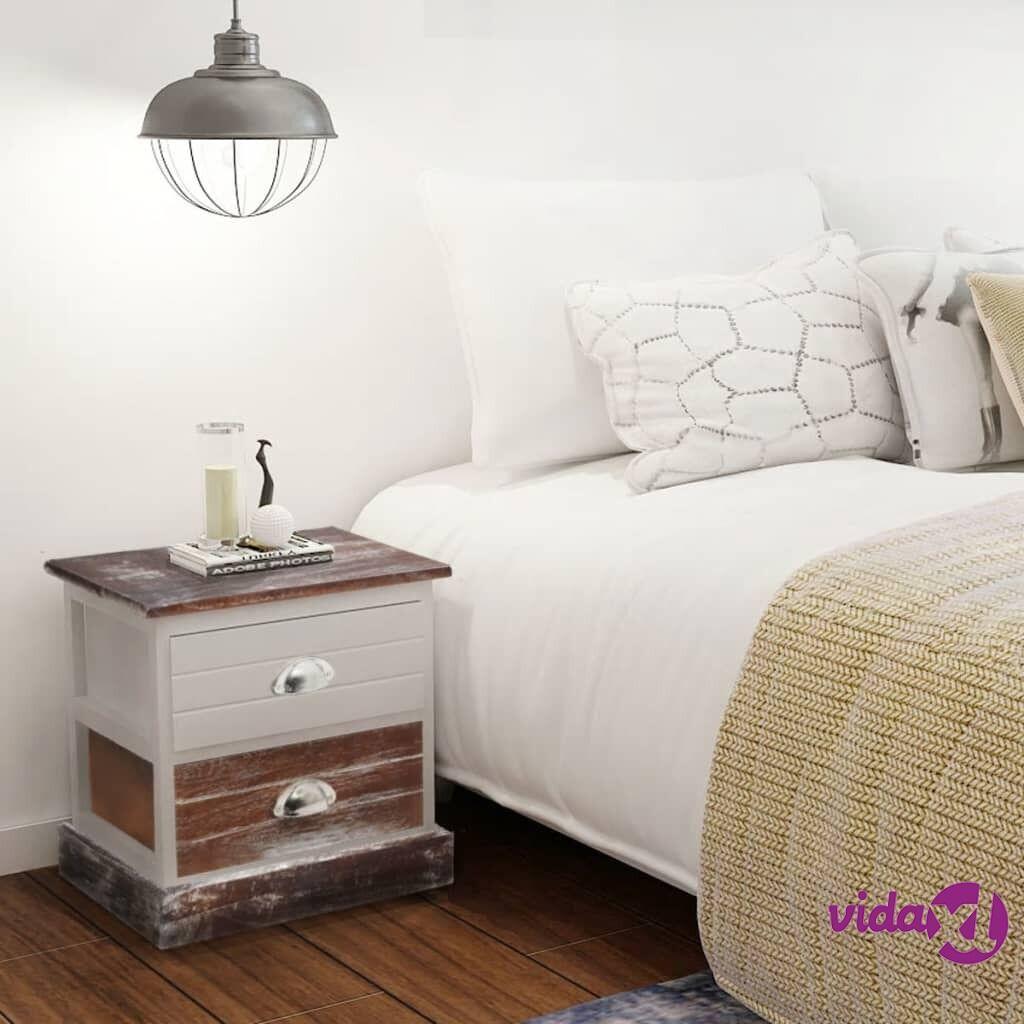 vidaXL Yöpöydät 2 kpl ruskea ja valkoinen