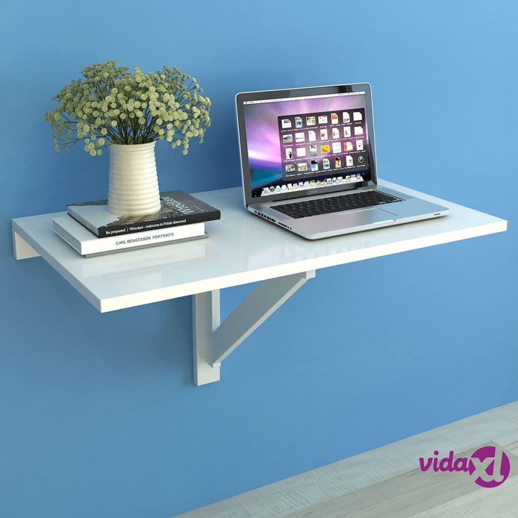 vidaXL Kokoontaitettava Seinäpöytä Valkoinen 100x60 cm