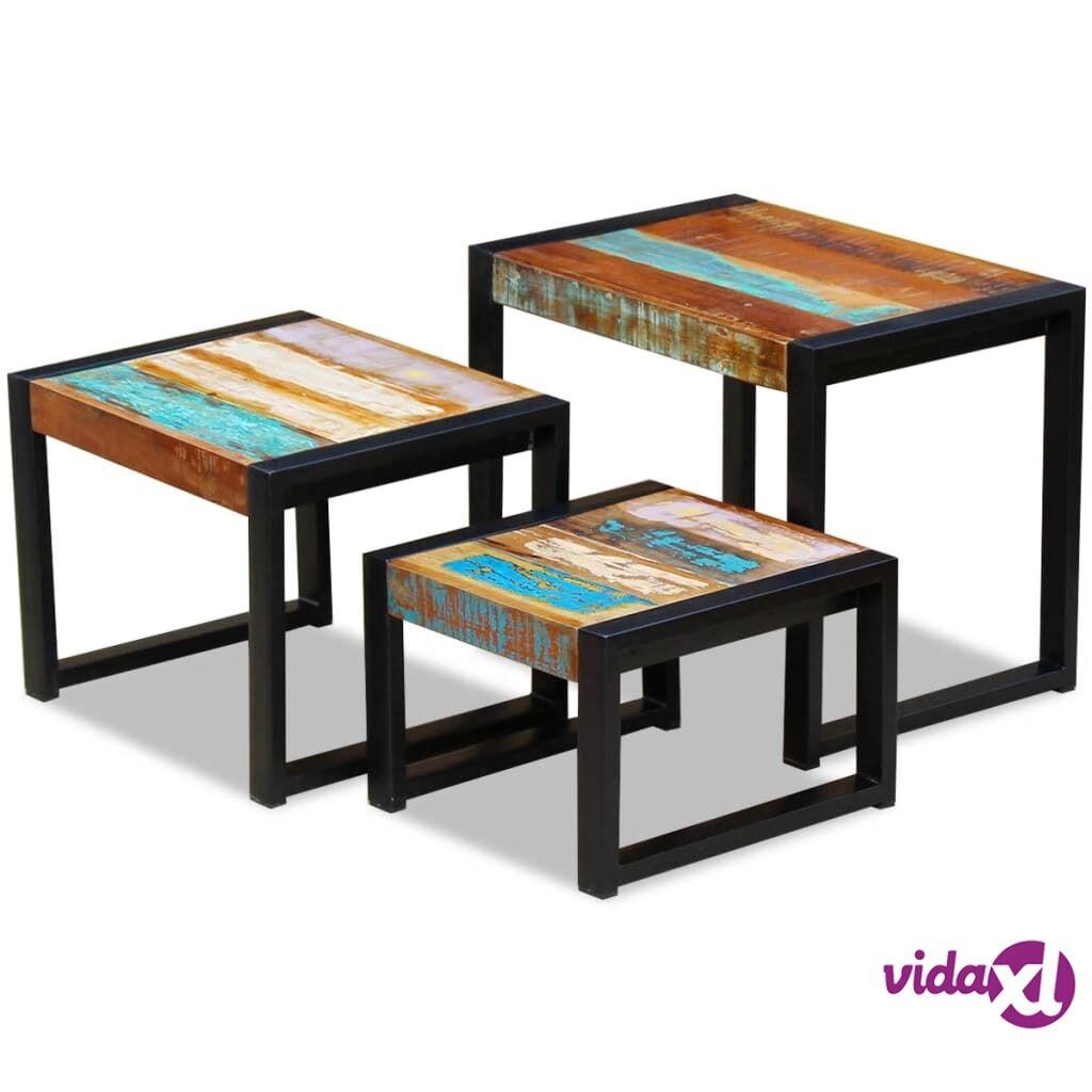 Image of vidaXL Sarjapöytä 3 kpl kiinteä kierrätetty puu