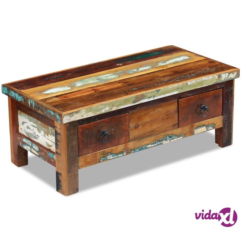 Image of vidaXL Kahvipöytä Laatikoilla Täysi Uusiokäytetty Puu 90x45x35 cm