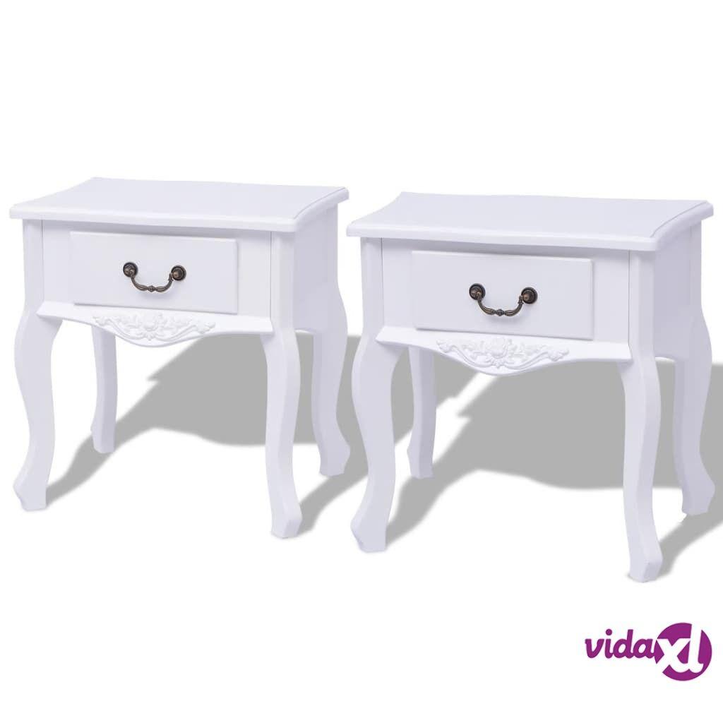 vidaXL Yöpöytä 2 kpl MDF Valkoinen