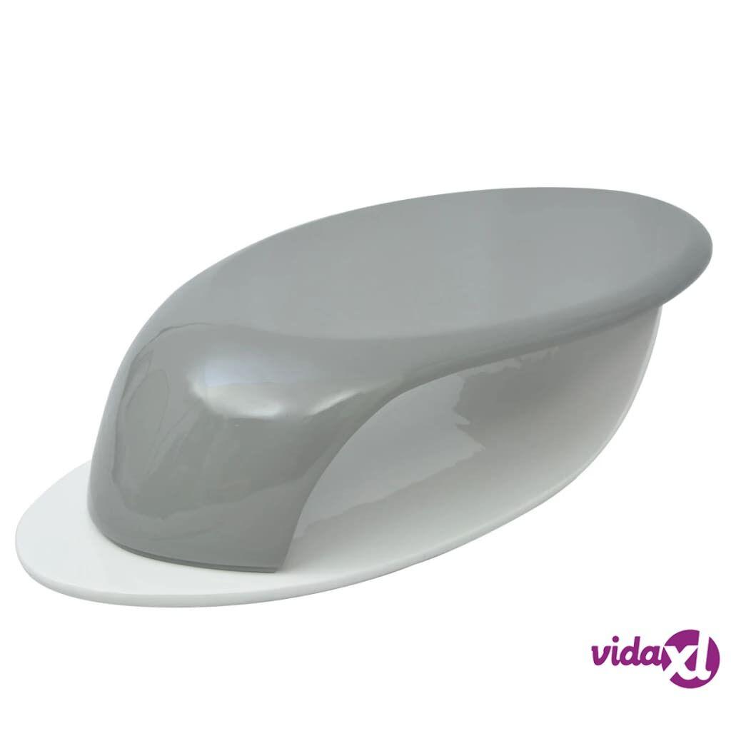 Image of vidaXL Sohvapöytä korkeakiilto lasikuitu Harmaa ja valkoinen