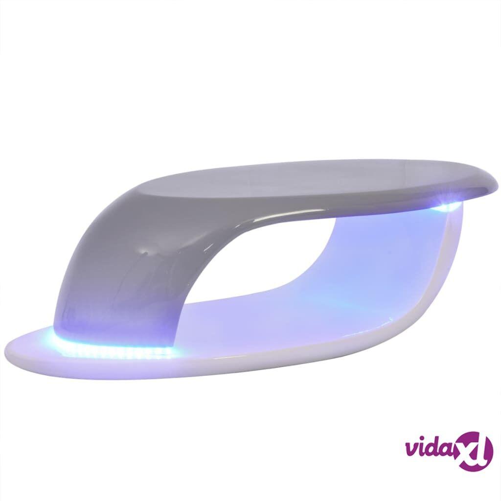 Image of vidaXL Sohvapöytä LED-valoilla lasikuitu korkeakiilto Valk. ja harmaa