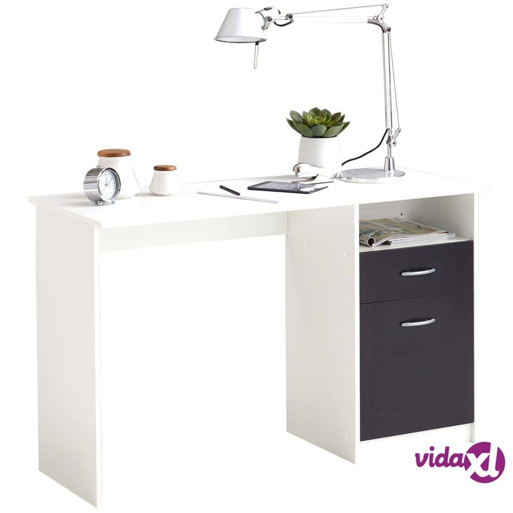 FMD Työpöytä vetolaatikolla 123x50x76,5 cm valkoinen ja musta