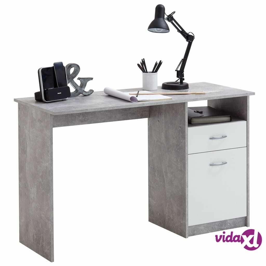 FMD Työpöytä vetolaatikolla 123x50x76,5 cm betoni ja valkoinen