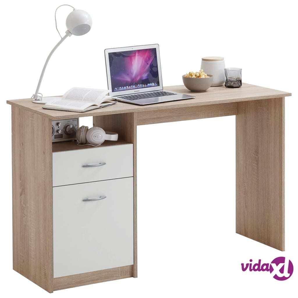 FMD Pöytä 1 laatikko 123x50x76,5 cm tammi ja valkoinen