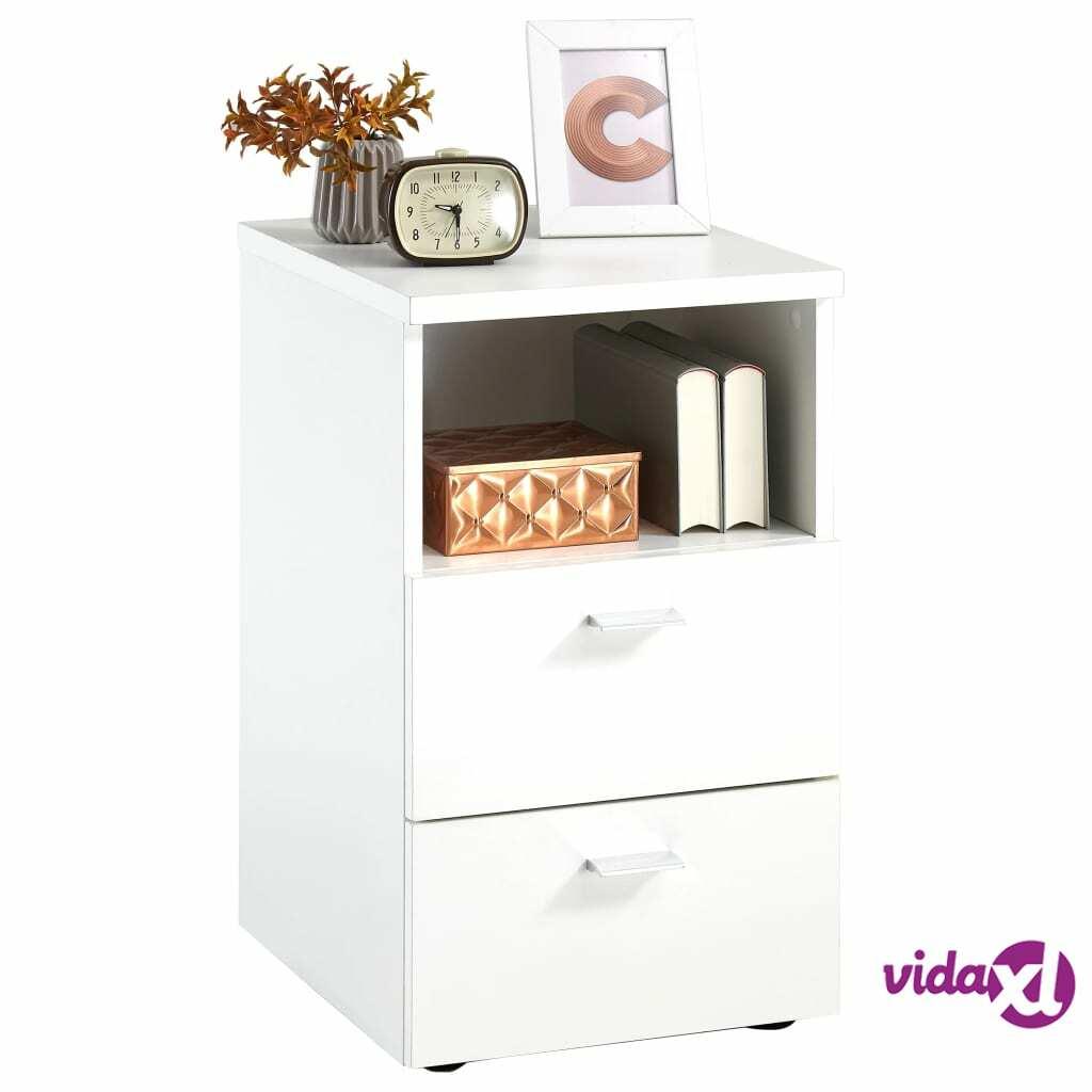 FMD Yöpöytä 2 laatikkoa ja avoin hylly valkoinen