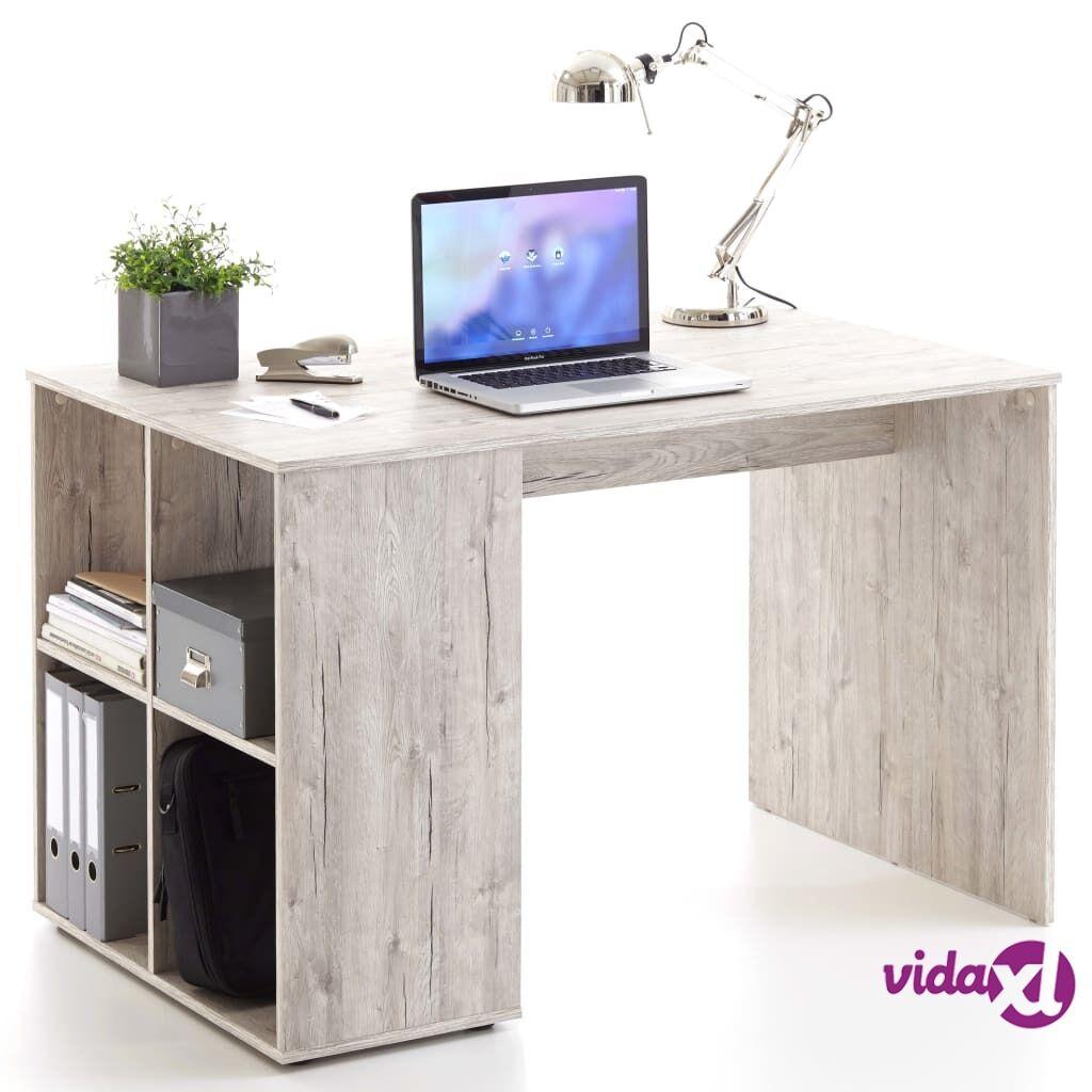 FMD Pöytä sivuhyllyillä 117x73x75 cm hiekkatammi