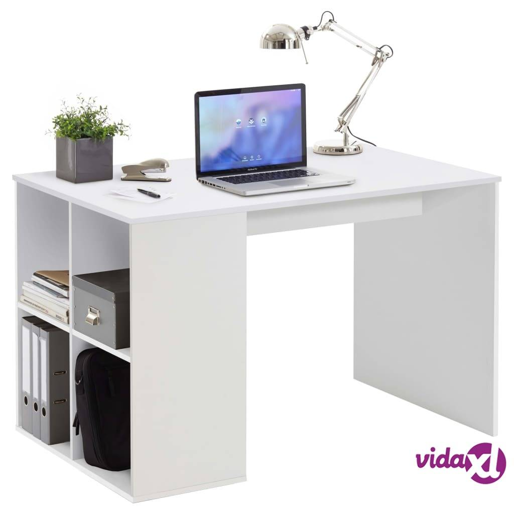 FMD Pöytä sivuhyllyillä 117x72,9x73,5 cm valkoinen