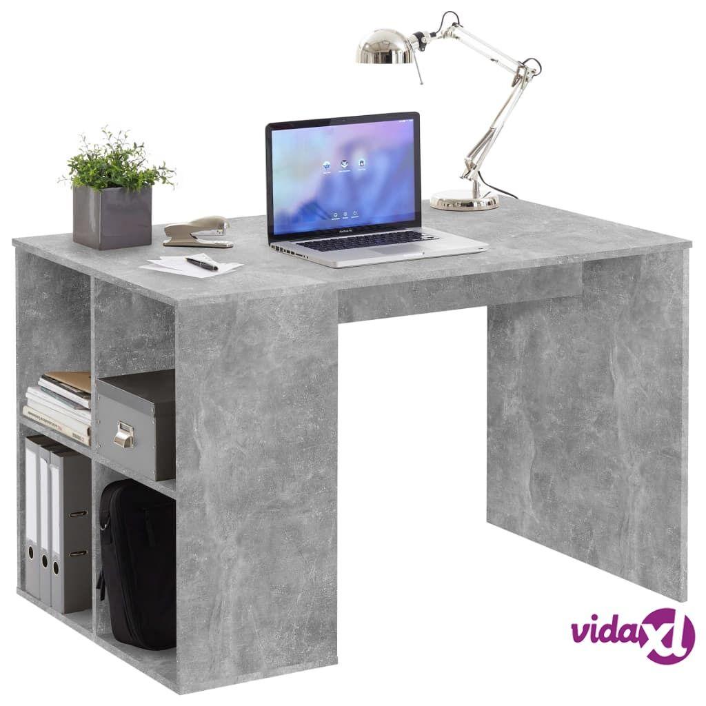 FMD Pöytä sivuhyllyillä 117x73x75 cm betoni