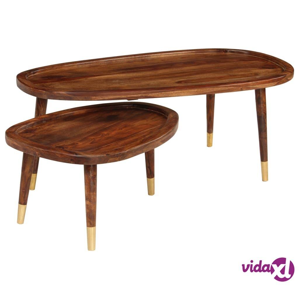 vidaXL Sohvapöydät 2 kpl ruskea seesampuu