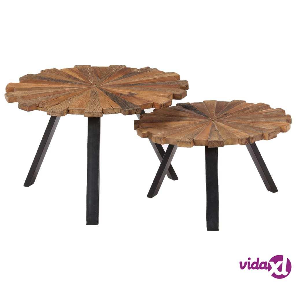 vidaXL Sohvapöydät 2 kpl täysi kierrätetty puu