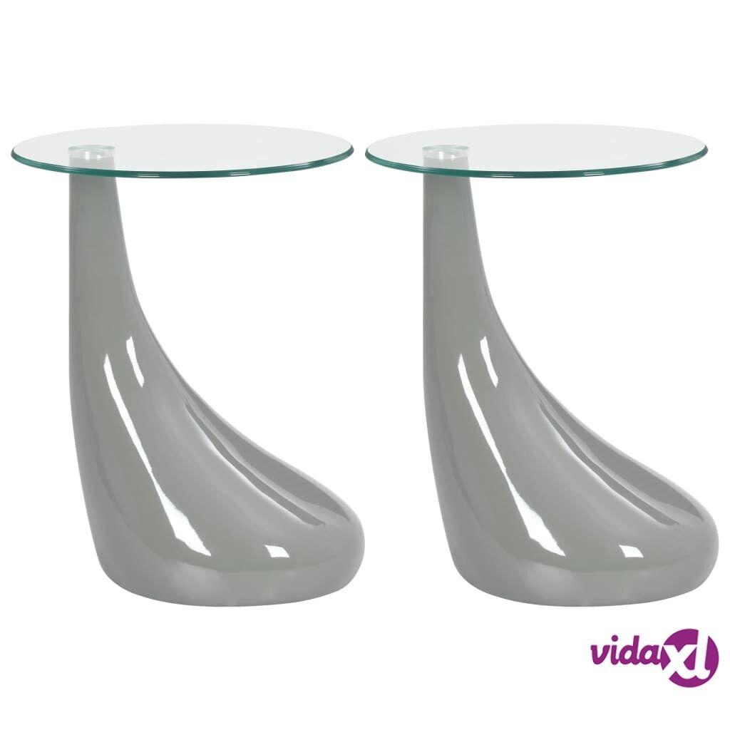 vidaXL Sohvapöydät 2 kpl pyöreä lasinen pöytälevy korkeakiilto harmaa