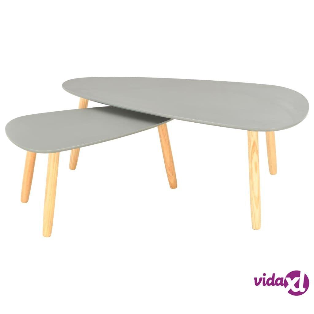 vidaXL Sohvapöydät 2 kpl harmaa täysi mänty