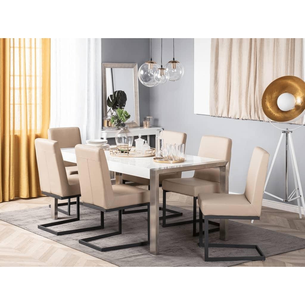 Beliani Keinonahkainen ruokapöydän tuoli - latte/musta ARCTIC