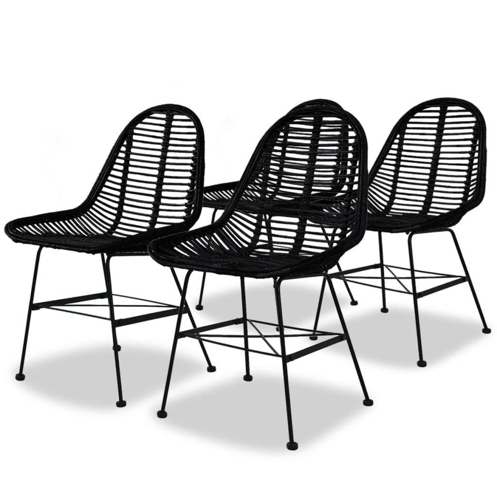 vidaXL Ruokapöydän tuolit 4 kpl Luonnollinen rottinki Musta
