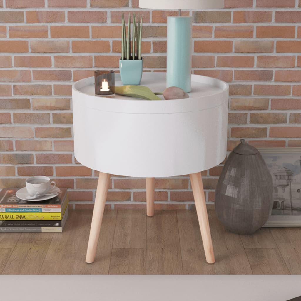 vidaXL Sivupöytä Tarjottimella Pyöreä 39,5x44,5 cm Valkoinen