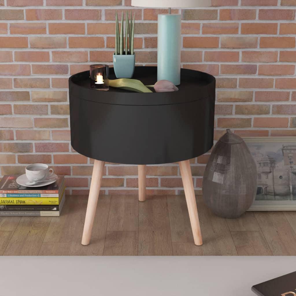 vidaXL Sivupöytä Tarjottimella Pyöreä 39,5x44,5 cm Musta