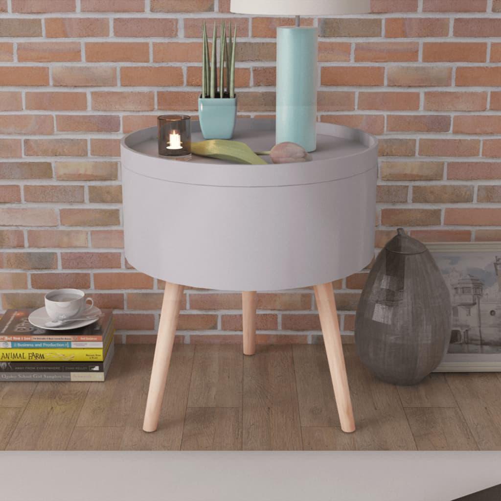 vidaXL Sivupöytä Tarjottimella Pyöreä 39,5x44,5 cm Harmaa