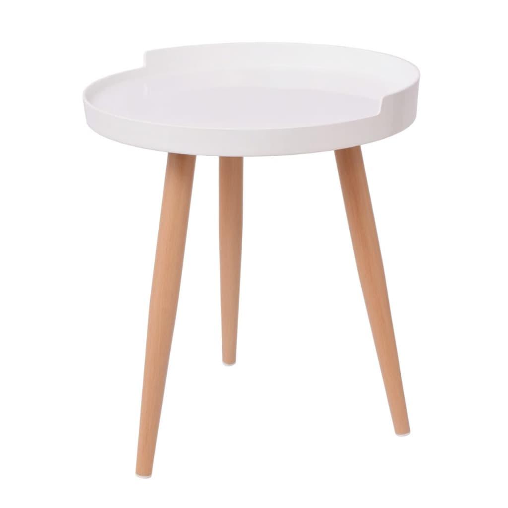 vidaXL Tarjotinpöytä pyöreä 40x45,5 cm valkoinen