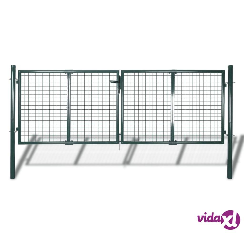 vidaXL Puutarha-aidan portti  289x100 cm/306x150 cm Teräs Vihreä