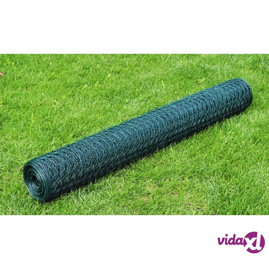 Image of vidaXL Kuusikulmainen Metalliverkko 50 cm x 25 m PVC-pinnoitettu Paksuus 1 mm
