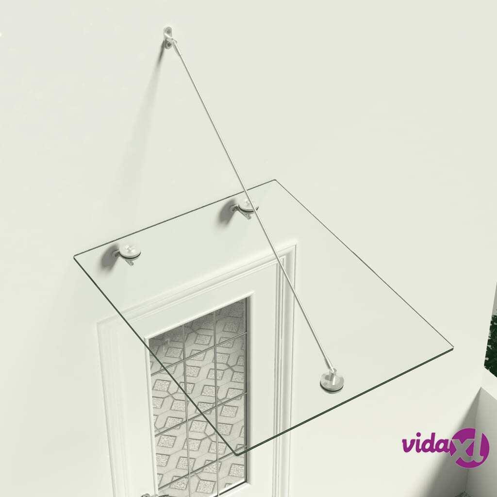 vidaXL VSG-turvalasi etuoven katos 90x75 cm ruostumaton teräs