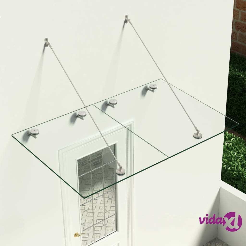 vidaXL VSG-turvalasi etuoven katos 150x90cm ruostumaton teräs