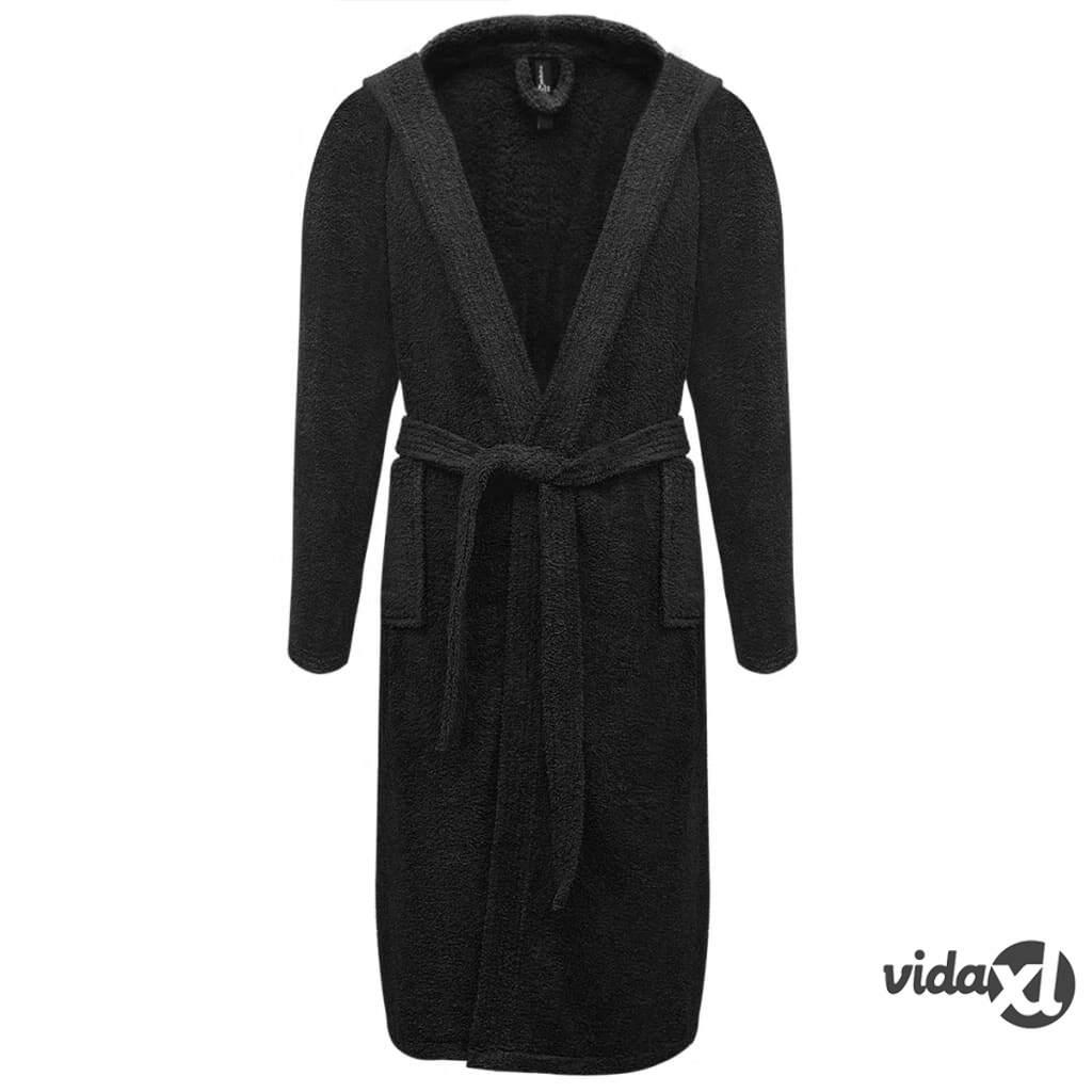 Image of vidaXL 500 g/m² Unisex Frotee Kylpytakki 100% Puuvilla Musta L