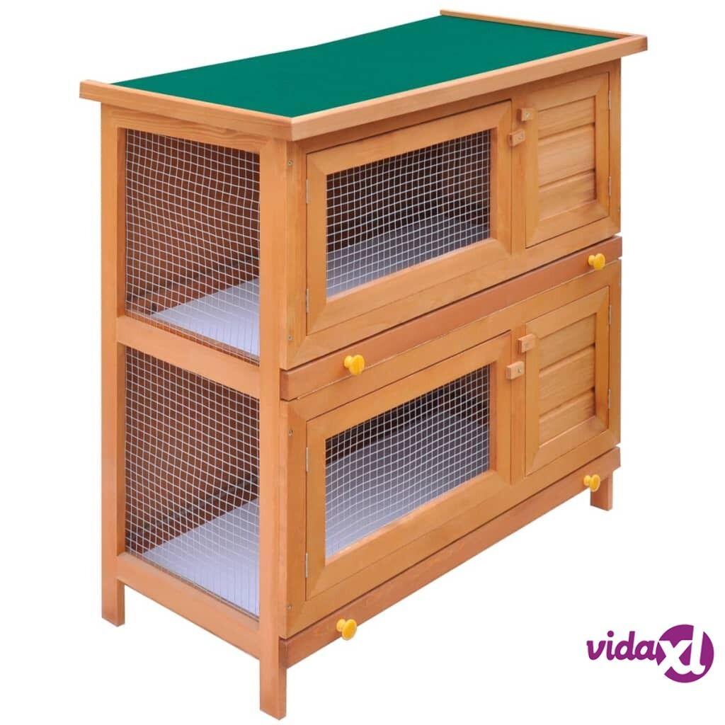 Image of vidaXL Kaninkoppi/pieneläinten ulkohäkki 4 ovea puu