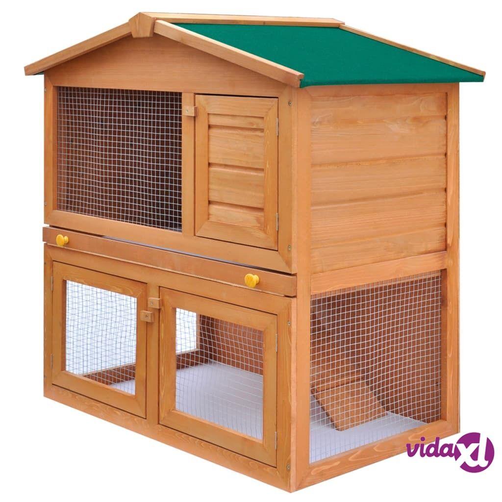 Image of vidaXL Kaninkoppi/pieneläinten ulkohäkki 3 ovea puu