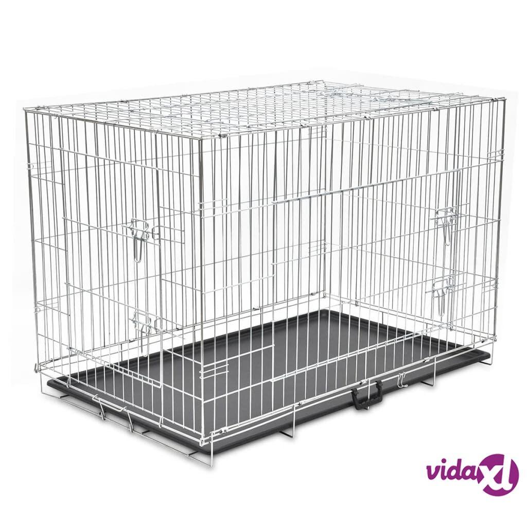 Image of vidaXL Kokoontaitettava koiranhäkki metalli XXL