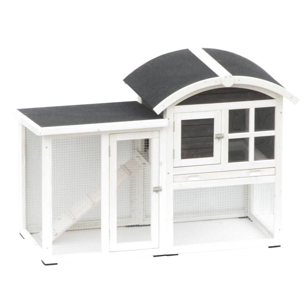 @Pet Kaninkoppi Piazza 130x62x90,5 cm valkoinen ja musta 20085
